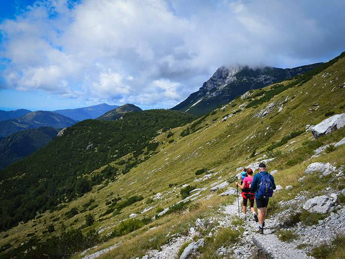 Slope walkers on Alpe Adria Trail Slovenia