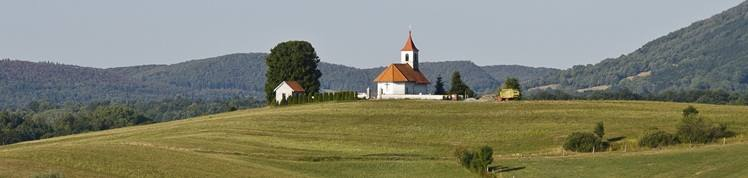 Hilltop church in hilly Slovenian countryside