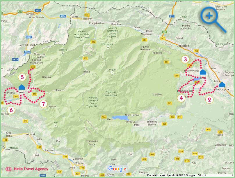 map of hiking holidays in Slovenia - 9 Waters Walk