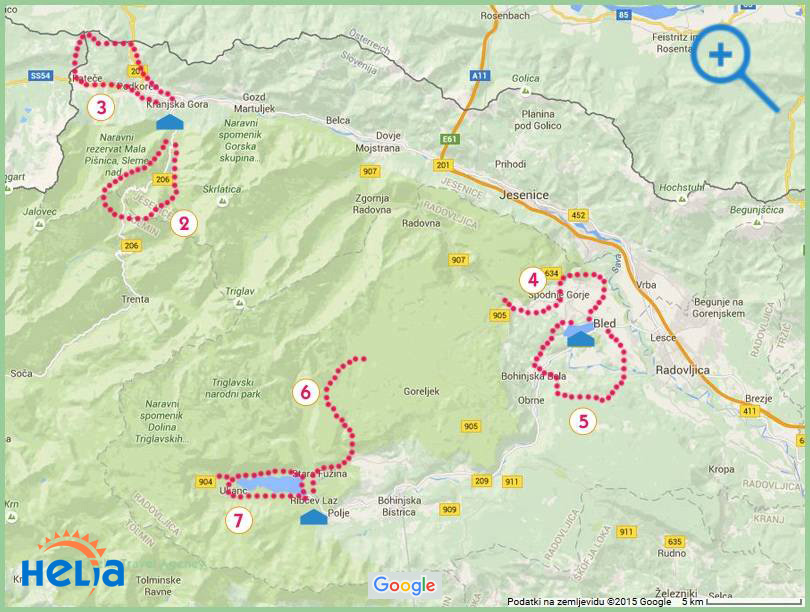 map - walking Lakes & valleys Slovenia