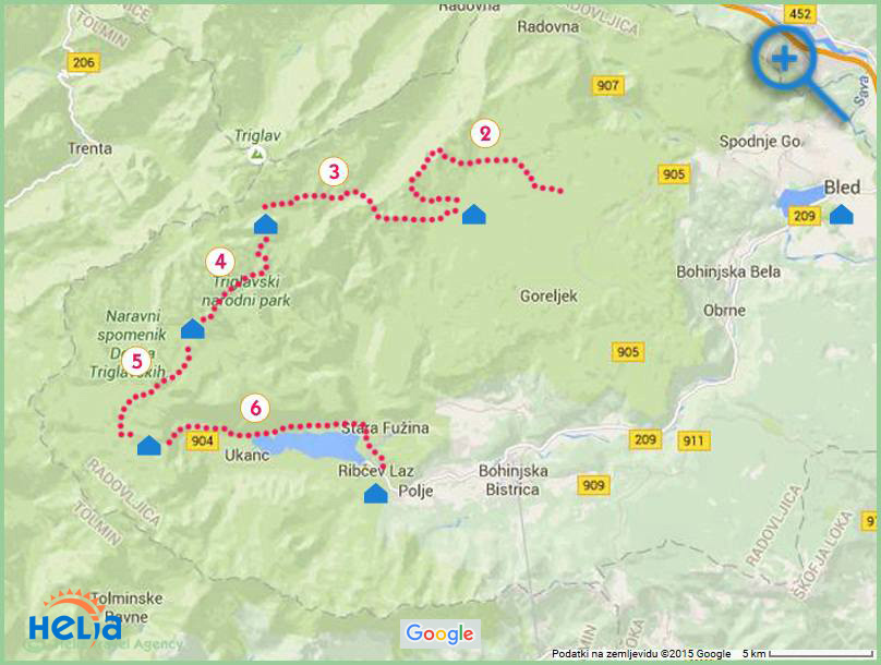 map of Julian Alps hike in Slovenia