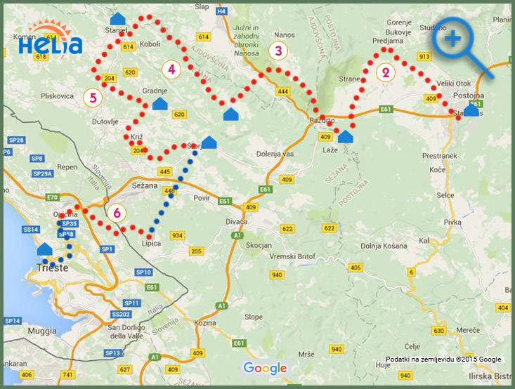 map of Suntrail walking tour in Slovenia