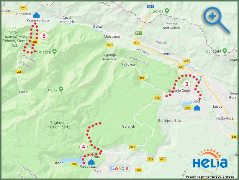 map - walking 3 Lakes in Slovenia